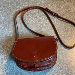 Brown leather Made in Italy messenger bag